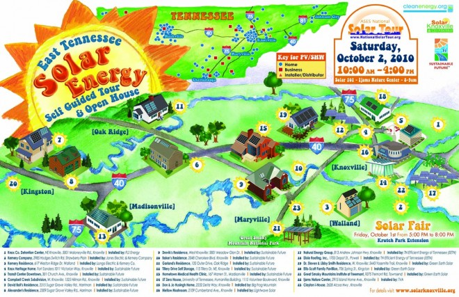 2010 East Tennessee Solar Tour Map